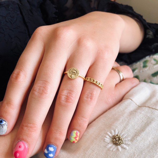 chunky chain love me more ring goud