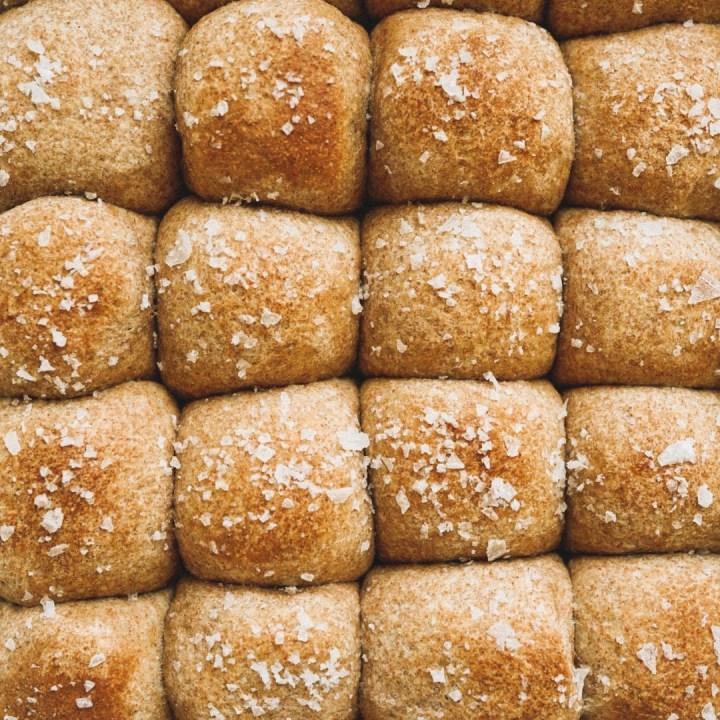 soft whole wheat dinner rolls with sea salt
