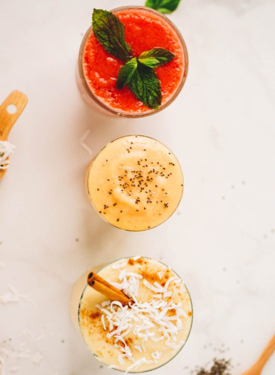 tropical smoothies in glass cup