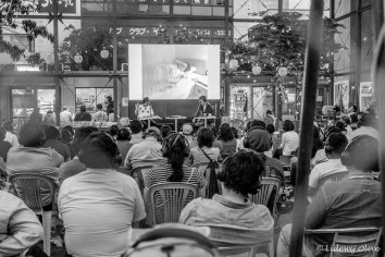 Open air silent cinema