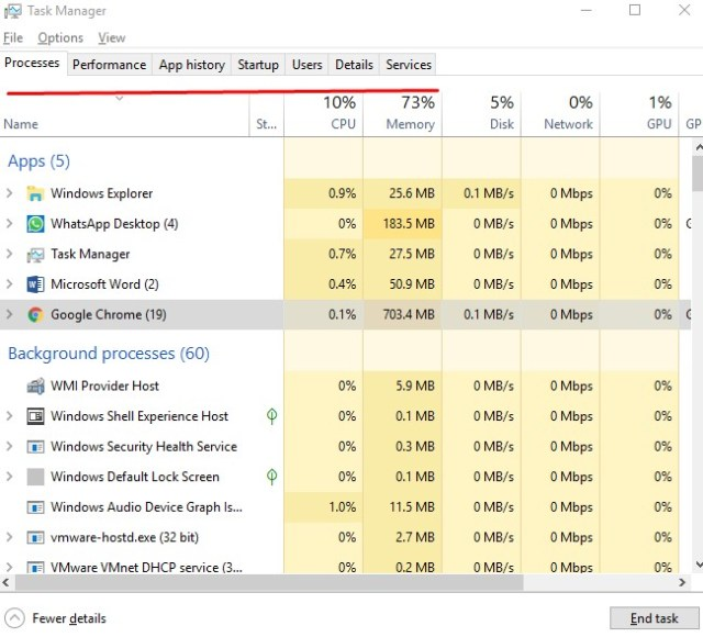 Terminate background process using task manager