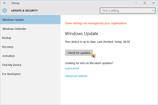 Check for updates in Windows 10