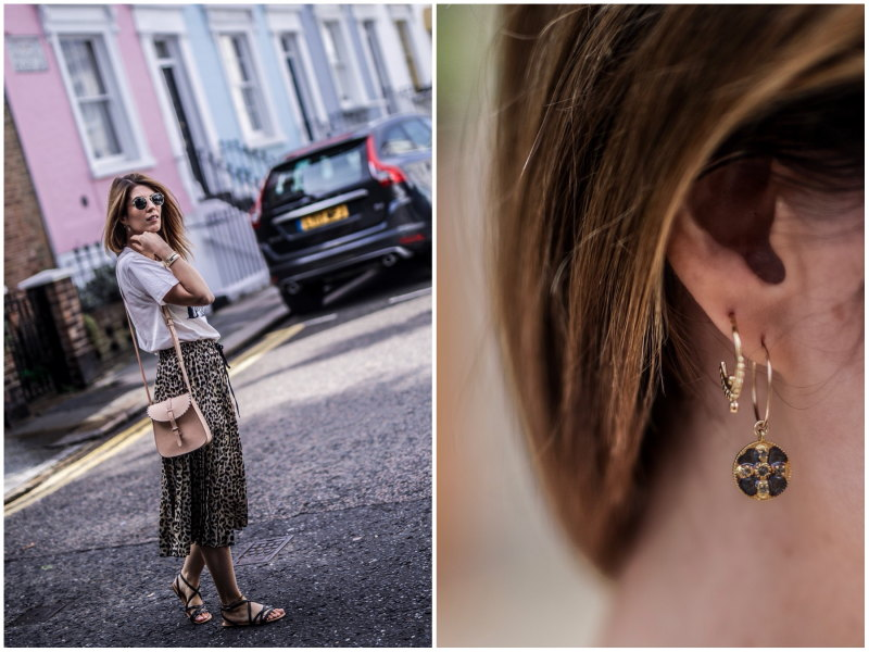 Look jupe léopard Notting Hill boucles d'oreilles By Opaline