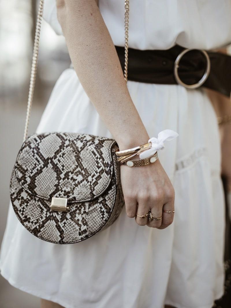 Look femme rock printemps sac python bracelet Maho blog mode Lyon France By Opaline