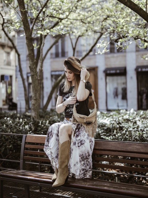 Look santiags daim bohème blog mode France Lyon By Opaline