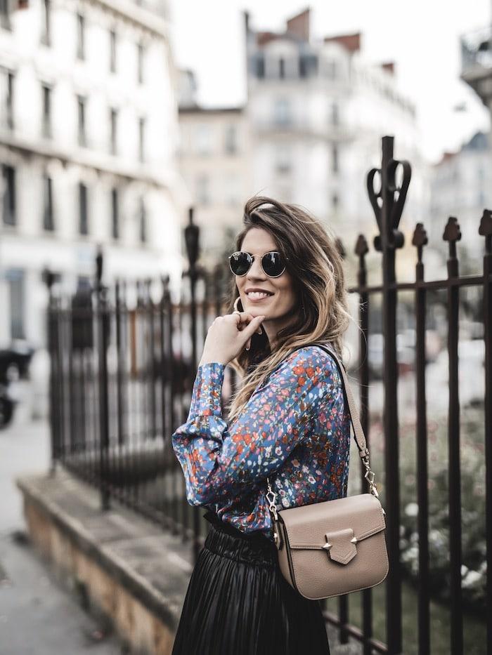Look femme inspiration chemise fleurie Ba&sh sasc Sèvres Pourchet Paris blog mode Lyon France By Opaline