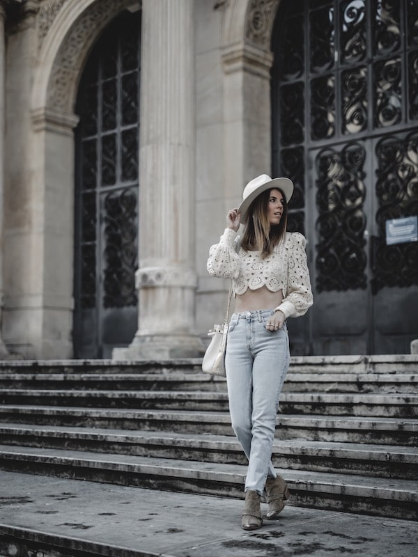 Inspiration look femme été 2019 crop top en crochet Zara jean slim blog mode Lyon France By Opaline