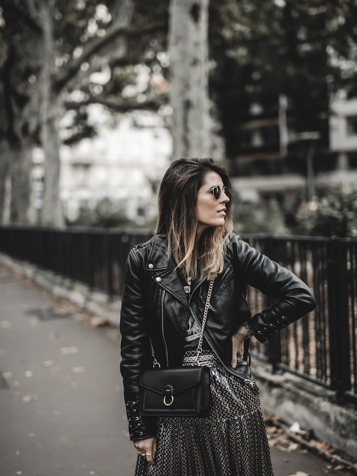 Look inspiration femme perfecto Schott tee-shirt rock aigle blog mode Lyon France By Opaline