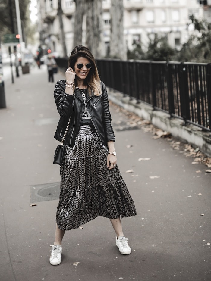 Look inspiration femme tenue rock jupe Ba&sh Bash Poly blog mode Lyon France By Opaline