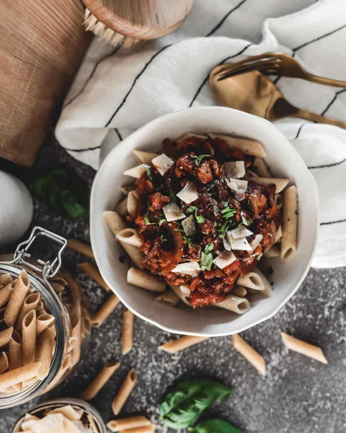 Recette pâtes sauce bolognaise végétale