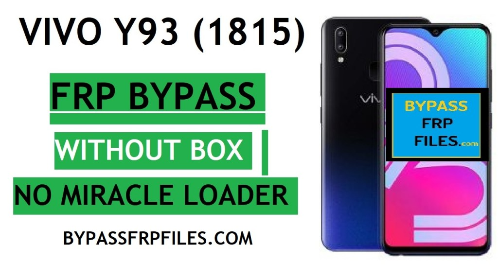 Vivo Y93FRP Bypass with SP FLASH Tool Vivo 1815 FRP unlock