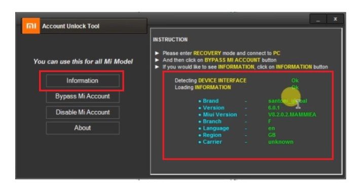 Read Info Mi Account Unlock Tool