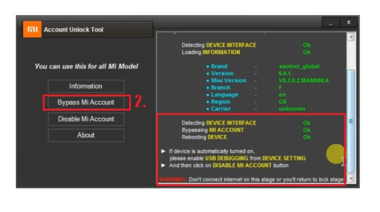 Bypass Mi Account Unlock Tool