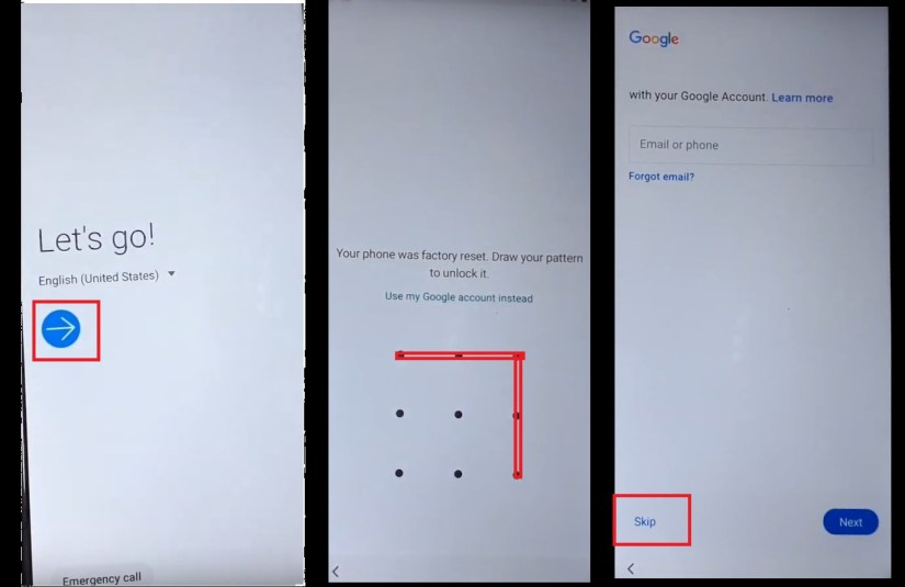 Verify the Pattern to to Samsung Android 10 FRP Bypass Unlock
