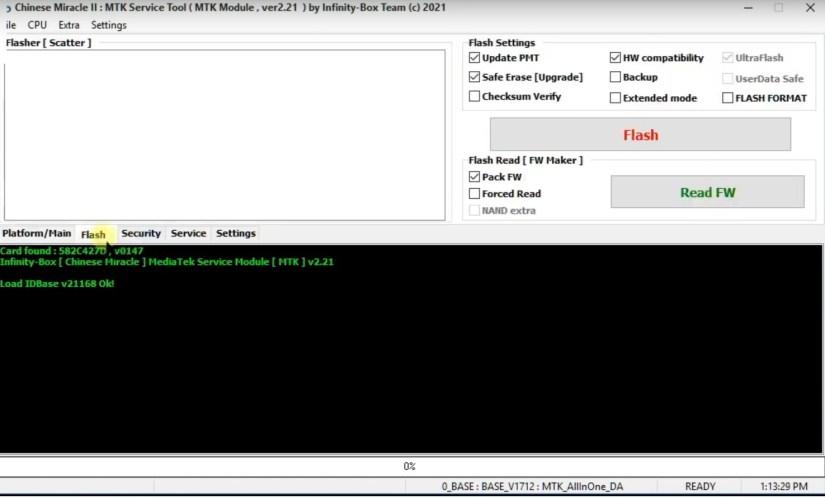 Flash Tab in Infinity CM2 Dongle V2.21 Latest Setup Tool