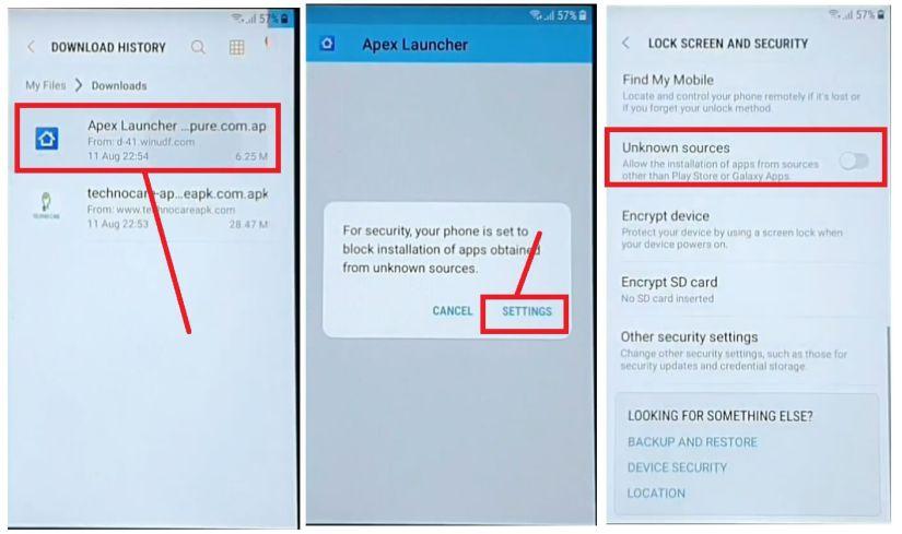 Install Apex Launcher to Samsung FRP Bypass Unlock Google