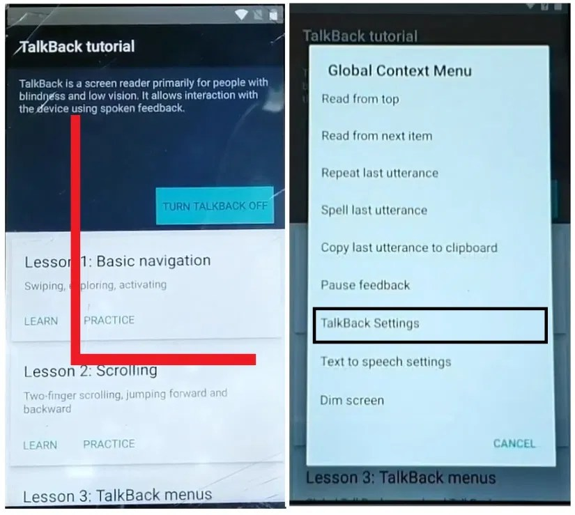 Enable Talkback to Comio/Coolpad FRP Bypass Unlock Google GMAIL Verification Account Android 7