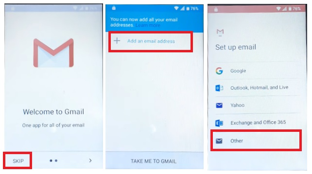 Tap GMAIL to ZTE Android 9.0 FRP Bypass Unlock Google Gmail lock