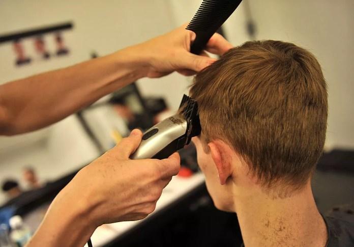 Man getting a hair trim