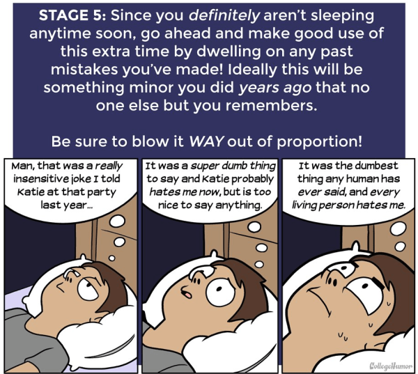 "Stage 5 from ""The 7 Stages Of Not Sleeping At Night"" This is perhaps similar to my bias anxiety. http://www.collegehumor.com/post/7018090/the-7-stages-of-not-sleeping-at-night"