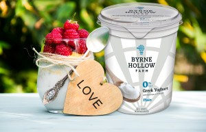 BHF Yogurt Heart  854989724 B - Homemade yogurt with raspberries. Milk raspberry dessert. Wooden heart.