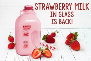 strawberry milk in a glass bottle from byrne dairy
