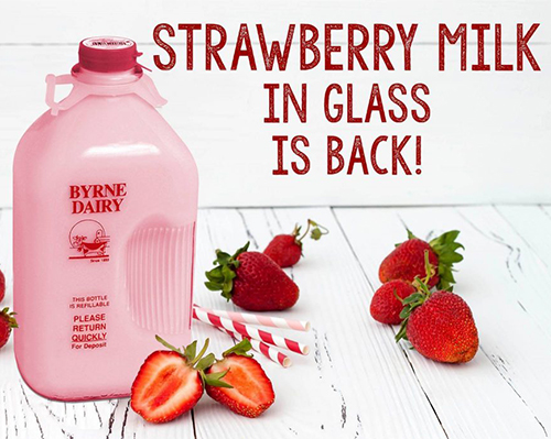 strawberry milk in a glass bottle image from byrne dairy - Strawberry Milk