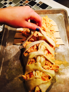 strips of dough 2 225x300 - Chicken Wing Pizza Braid