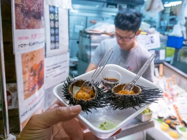 Nishiki Market food Kyoto Kioto sea urchin zee-egel