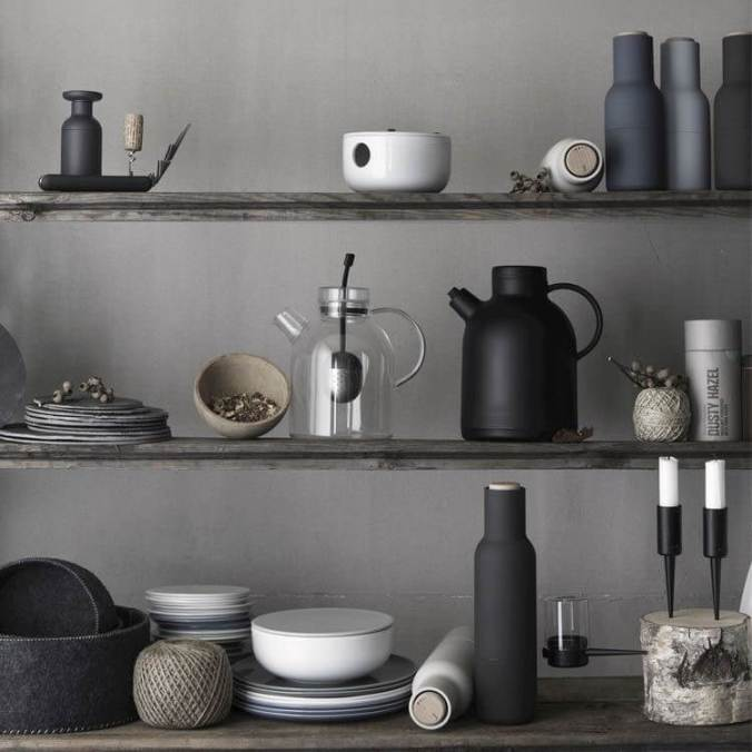 grey curated kitchen shelf