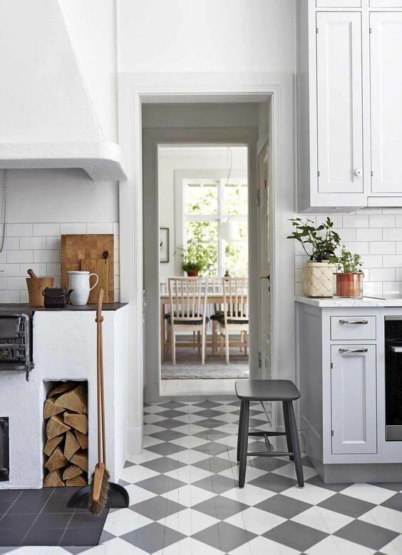 rustic cottage kitchen with checked floor