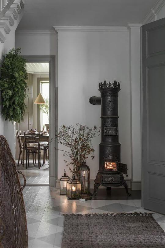 black decorative wood burner