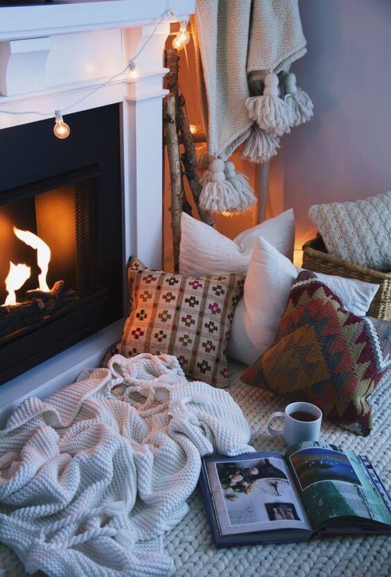 cosy nook with fireplace