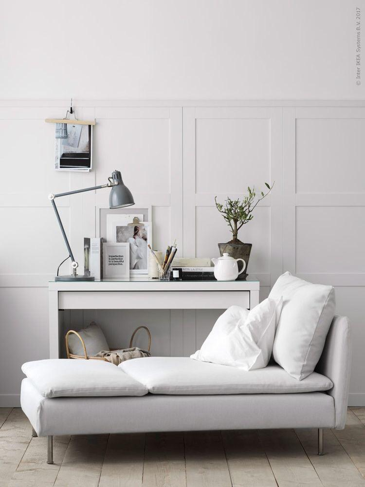 chaise longue in a white living room
