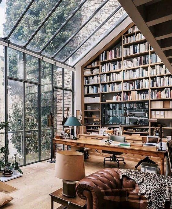 library with wall of glass