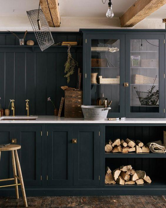 inspo for our kitchen design: gorgeous dark blue rustic kitchen