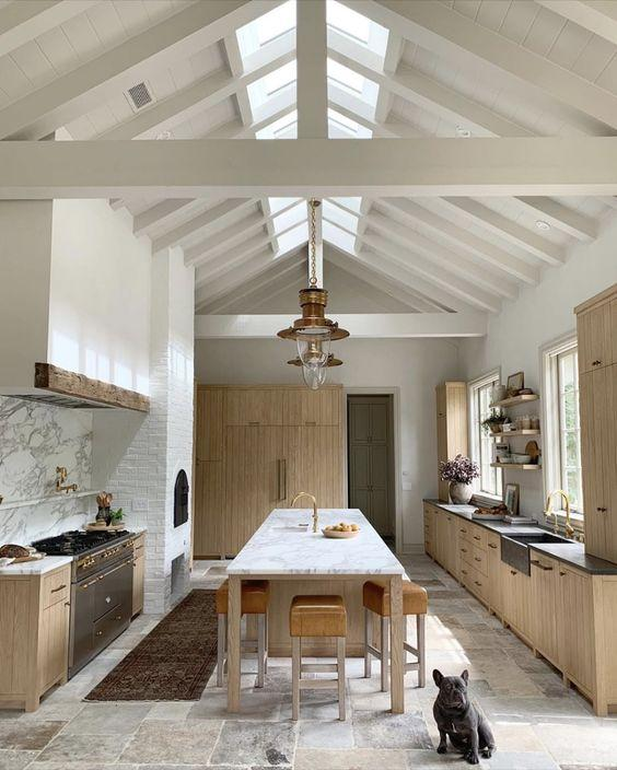 high vaulted ceilings and wooden kitchen units