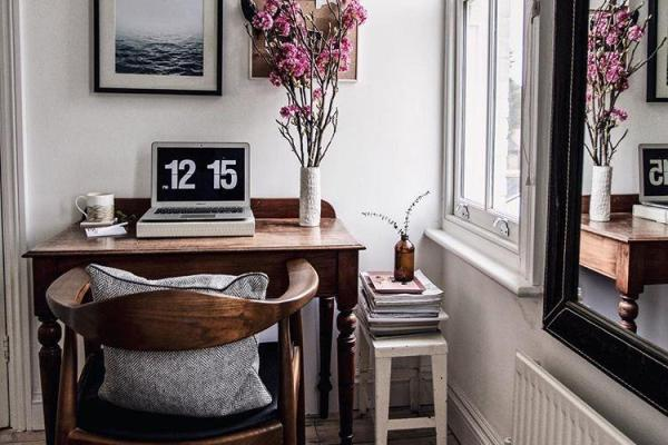tiny home office nook with limited space