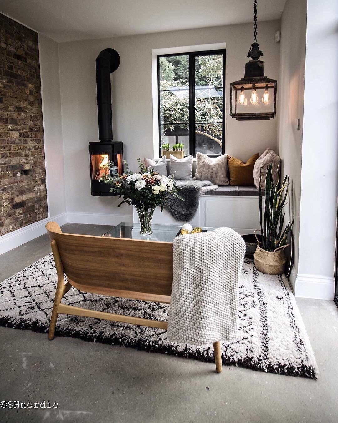 seating corner with wood burner