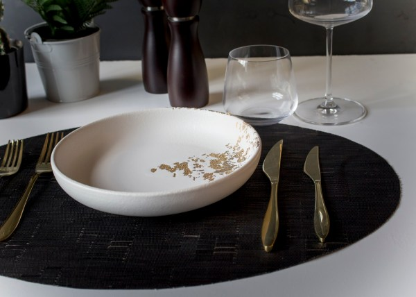 White deep plate with gold finish -By Studio RAW