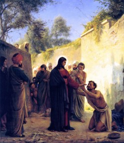Healing of the Blind Man by Jesus Christ, by Carl Bloch