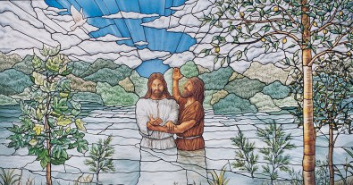 Stained-glass window in Nauvoo Illinois Temple, by Tom Holdman