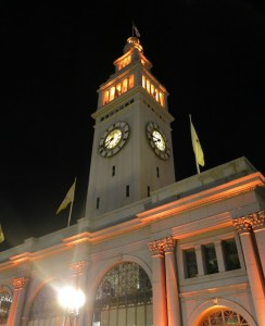 The Ferry Building illuminated orange for the San Fancisco Giants in the playoffs