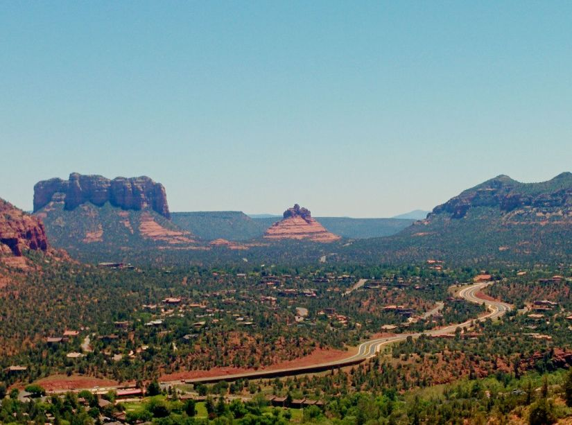 Road winding through the red rocks of Sedona.