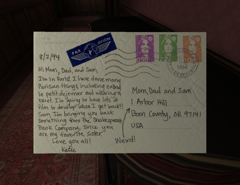 Gone Home - Post Card