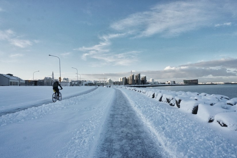 A little snow doesn't keep Reykjavik bikers down!
