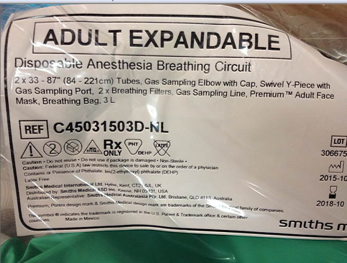 Anesthesia Breathing Circuits Of Item 36891048