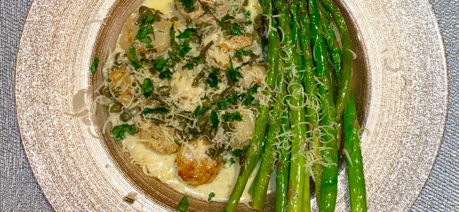 Scallops with Creamy Caper Wine Sauce and Asparagus