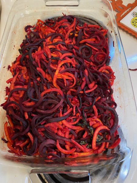 Spiraled Beets and Sweet Potatoes