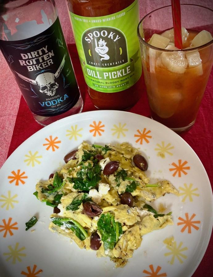 Greek Scramble with Bloody Mary